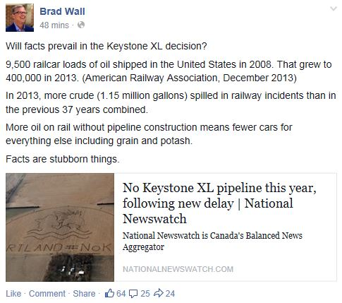Brad Wall on FB re KXL