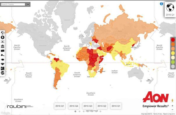 AON Political risk map Q1 2016