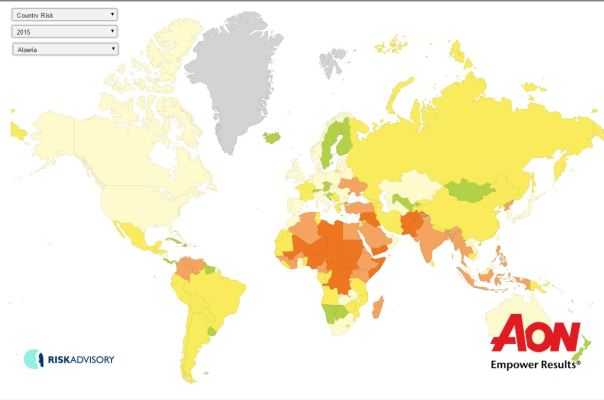 Political and terrorism risk aon and maplecroft prosperity aon terrorism risk map 2015 sciox Gallery