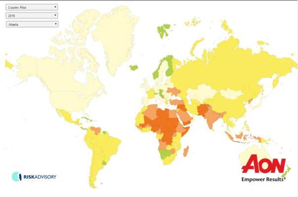 AON terrorism risk map 2016