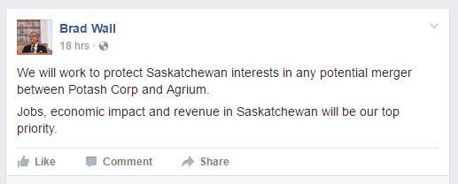 Brad Wall FB on PCS Agr Aug 31 2016