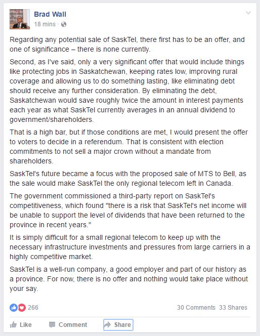 Brad Wall on SaskTel sale from FB - Aug 26 2016