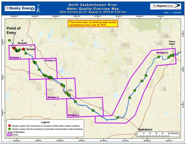 Husky oil water map