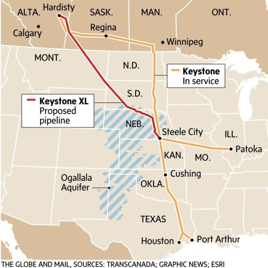 Keystone XL route map